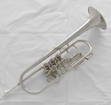 Prof. Silver Nickel Rotary Piston Trumpet Bb Horn Brand New With Case