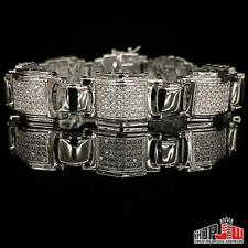 Mens White Gold Plated Simulated Diamond Bracelet Hip Hop Chunky Link Box Pave