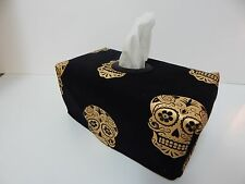 Gold Sugar Skulls on Black Tissue Box Cover With Circle Opening - Great Gift!