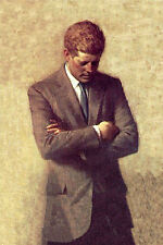 Huge Oil painting male portrait President John F. Kennedy no framed canvas 36""