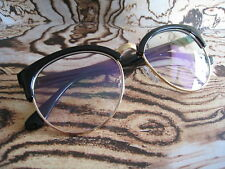 50s Black Oversized Clubmaster Retro Vintage Geek Clear len Fashion Glasses