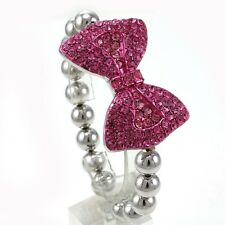 Hot Pink Bow Tie Ribbon Bracelet Silver Tone Beads Adjustable Stretch Band z4