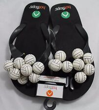 Hotflops Sports Flip flops beach sandals. Black with White Volleyball. Adult 6-7