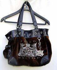 JUICY COUTURE Brown velveteen embellished Hand bag Purse