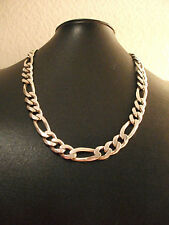 VERY HEAVY SOLID SILVER MENS OR LADY'S FIGARO LINKED NECK CHAIN.91 GRAMS.SUPERB.