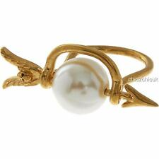 Alexander McQueen Large Pearl Skull Ring SZ L - BOXED & Authentic