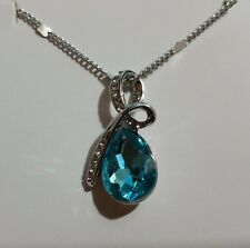 New 18K White Gold Plated Necklace with Blue Crystal