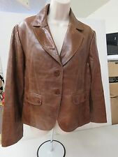 Women's ELIE TAHARI Brown Light Destressed Leather Jacket Blazer sz L