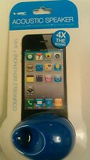 Vibe Sound Blue Acoustic Loud Speaker 4X Sound iPhone 4/4S NO batteries required