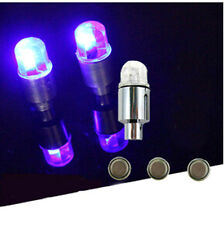 BLUE 4 X  Flashing LED Light Car Valve Caps Light Tyre Wheel Neon LED Lamp