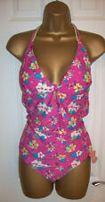NEW LADIES BOARD ANGELS SWIMSUIT 18, Pink Tropical Floral Tummy Control costume