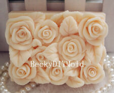 1pcs Square Rose (zx78) Silicone Handmade Soap Molds Crafts DIY Moulds