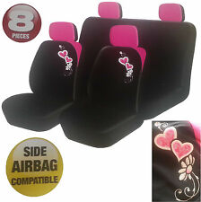 8 Piece Pink & Black Heart & Flower Blooms Car Seat Headrest Covers Cover Set Uk