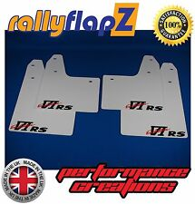 rallyflapZ MITSUBISHI EVO 6 (99-01) 6th Gen Mud Flaps White VI RS Logo 3mm PVC