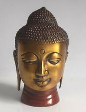 "Antique Finish Buddha Head HEAVY Budha Bust 5"" Heavy Brass"