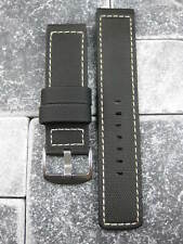20mm Black PVC Composite Rubber Diver Strap Watch Band Portuguese Maratac White