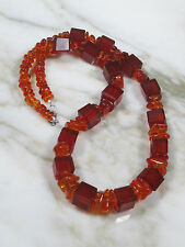 ANTIQUE FACETED HONEY BALTIC AMBER CUBE & SMOOTH CHIP BEAD NECKLACE 43.9 GRAMS
