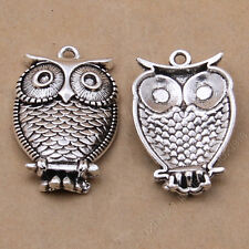 6x Charms Bird Owl Pendant Beads Jewellery Making Crafts Tibetan Silver /S785