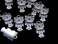 10 x 20mm Tibetan Silver Owl Charms Pendants Jewellery FREE UK P+P U182