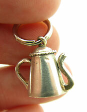 Sterling Silver 3D Tea Kettle Coffee Pot Pendant Bracelet Charm