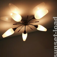 Decken Lampe Leuchte Teak Messing Glas 5 flammig 50er 60er Jahre Sputnik Vintage