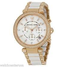 Michael Kors Women's MK5774 Parker Rose Gold-Tone and White Watch