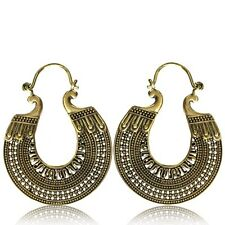 PAIR LARGE AFGHAN TRIBAL BRASS EARRINGS HANGER ORNATE ANTIQUED PLUGS HOOPS