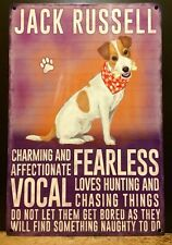 Jack Russell Terrier Dog Metal Sign With Character Description (30 x 20cm)