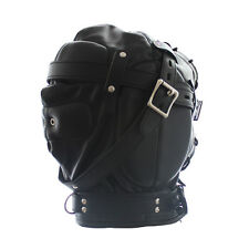 Heavy Duty PU Leather Padded Lockable Hood Mask Halloween 11 yyy