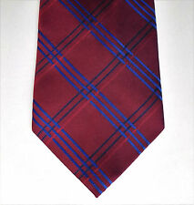 Debenhams wide check tie Maroon and blue