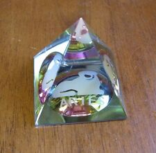 Rainbow Pyramid Crystal Iridescent Glass ARIES Etch  Paperweight Collectible