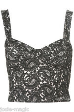 Topshop Lace Cup Corset 16 44 Bralet Grey Black Paisley Tapestry Print New