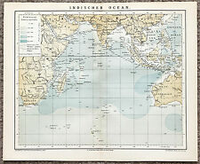 1884 Indian Ocean Map Hindustan India Africa Western Australia Original Brockhau