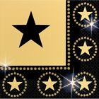Hollywood Star Attraction Pack of 16 Black and Gold Lunch Napkins - 519016