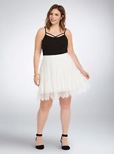 ~Free Shipping~ $54.50 Torrid Pleated Chiffon Lace Skater Skirt Plus Size 26 NWT
