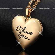 I Love You Rose Gold Heart Locket Necklace Women Xmas Gifts For Her Mother Girls