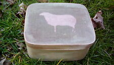 Primitive Wooden Nesting Box Grubby Green with an Old Sheep Folk Art Decor