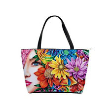 Colorful Roses Pretty Hippie Chic Flower Girl Art Large Shoulder Bag Purse