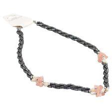 45 Twisted Cuerda del grano collar Con 3 clústeres De Cuarzo Rosa Piedras