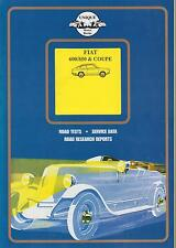 FIAT 600 600D 850 SALOON COUPE & SPIDER 1955 - 1970 PERIOD ROAD TESTS BOOK