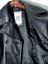 Vtg JNY Jones New York Leather Pea Coat Jacket Sz L