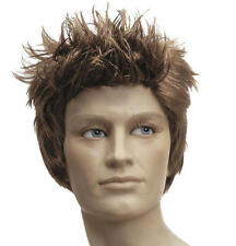 Mens Brown Spikey Quiff Wig Australian Boyband Elvis Fancy Dress