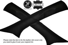 BLACK STITCHING 2X A POST PILLAR LEATHER COVERS FITS TOYOTA HILUX 2006-2015