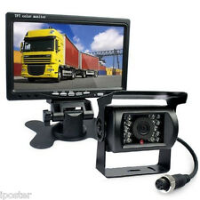 "4Pin 12/24V Motorhome Rear View Kit 7"" TFT Monitor +CCD Backup IR Camera Caravan"