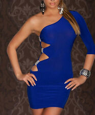 Sexy Women's Cocktail One Shoulder Clubwear Party Blue Bodycon Evening Dress