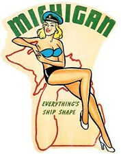 Michigan    Pin-Up Girl    Vintage Looking Travel Decal Sticker Label
