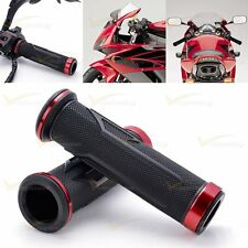 """Red Aluminum Motorcycle 7/8"""" 22mm Rubber Hand Grip For Yamaha YZF R1 R6 R6S FJR"""
