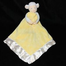 Baby Connection Yellow White Lamb Sheep Security Blanket Lovey Satin Velour 12""
