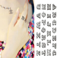 Waterproof Temporary Tattoo Stickers Cute English Letters Fingers Design Art