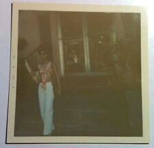 Vintage 60s Square Photo Stunning Black Girl In White Pants And Skimpy Red Top